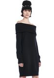 T by ALEXANDER WANG CASHWOOL KNIT OFF THE SHOULDER PULLOVER DRESS  KNIT DRESS Adult 8_n_a