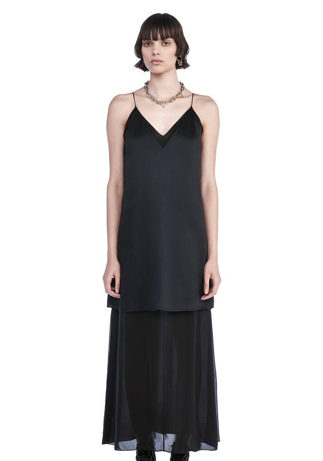 T by ALEXANDER WANG Long dresses CHARMEUSE SLIP DRESS WITH CHIFFON COMBO