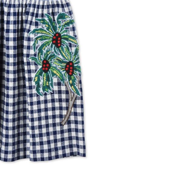 Palm Print Check Dress