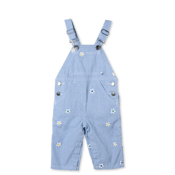 Striped Daisy Olive Overalls