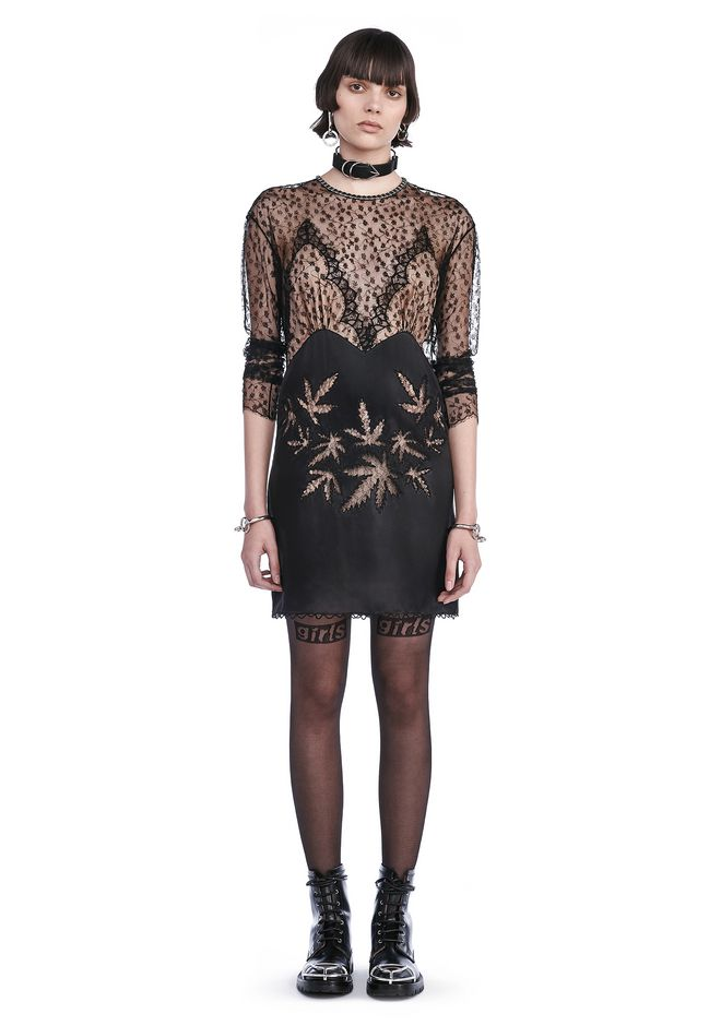 ALEXANDER WANG Short Dresses Women RUNWAY LONG SLEEVE DRESS WITH LACE LEAF EMBROIDERY