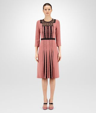 DRESS IN DUSTY ROSE NERO POLYESTERE, LACE DETAIL