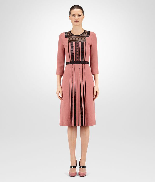 BOTTEGA VENETA DRESS IN DUSTY ROSE NERO POLYESTER, LACE DETAIL Dress D fp