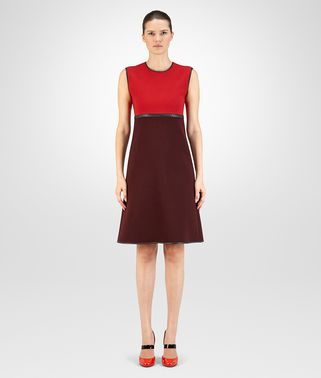DRESS IN BAROLO TECHNICAL CREPE CHINA RED WOOL CREPE, INTRECCIATO NAPPA DETAILS