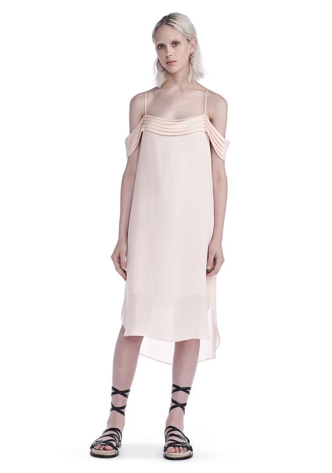 T by ALEXANDER WANG Kurze Kleider Für-sie SILK GEORGETTE PLEATED OFF THE SHOULDER DRESS