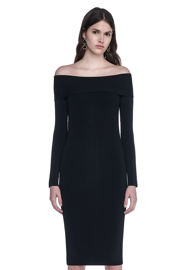 T by ALEXANDER WANG Long dresses FITTED OFF THE SHOULDER LONG SLEEVE DRESS