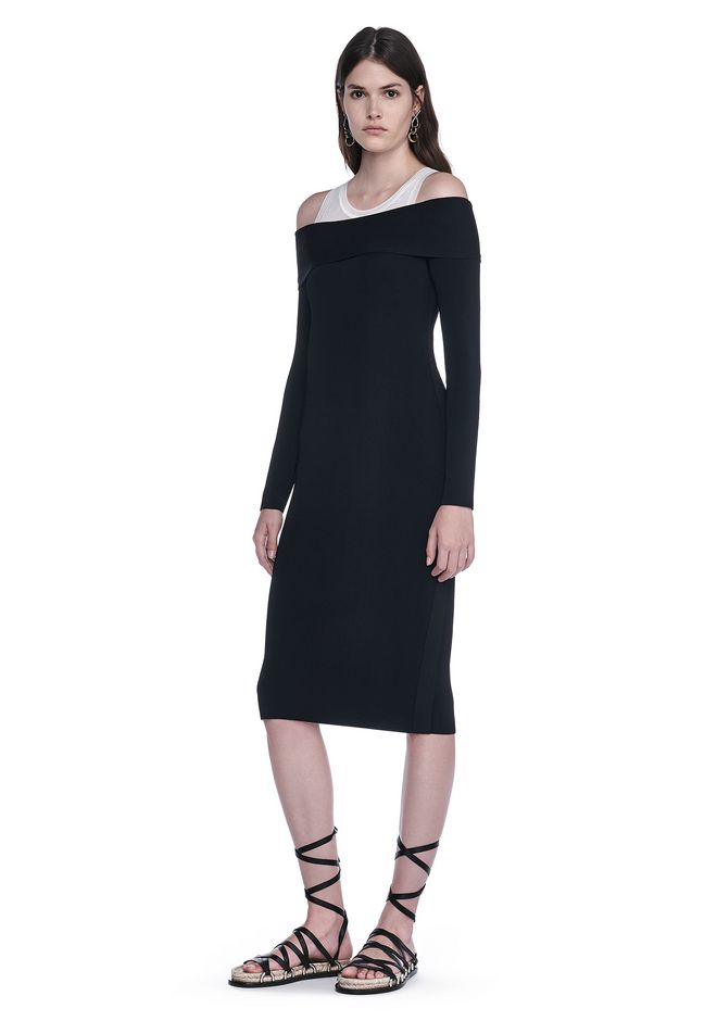 T by ALEXANDER WANG Lange Kleider Für-sie FITTED OFF THE SHOULDER LONG SLEEVE DRESS