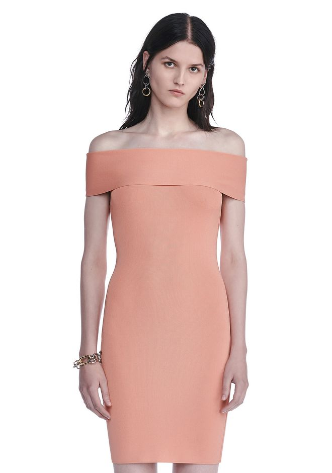T by ALEXANDER WANG Short Dresses FITTED OFF THE SHOULDER DRESS