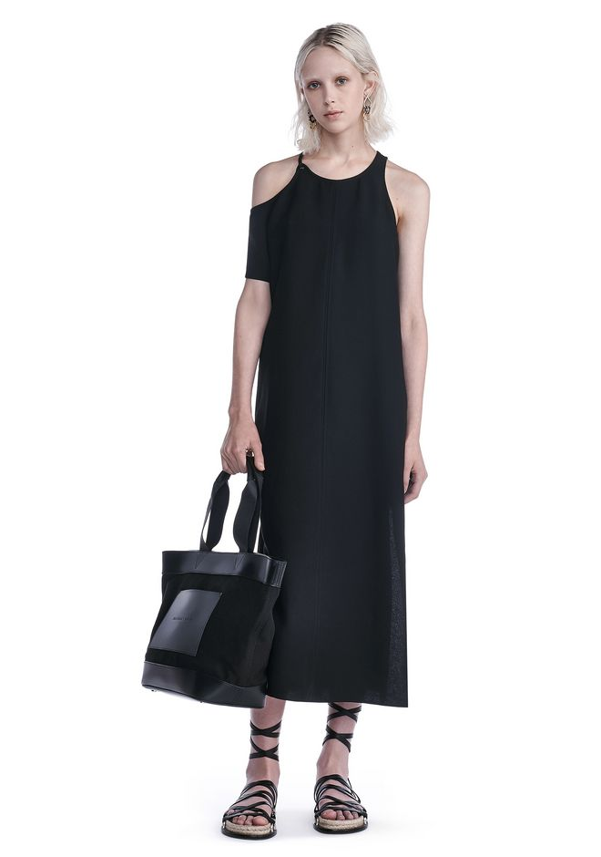 T by ALEXANDER WANG new-arrivals-t-by-alexander-wang-woman MATTE POLY CREPE ASYMMETRICAL DRESS