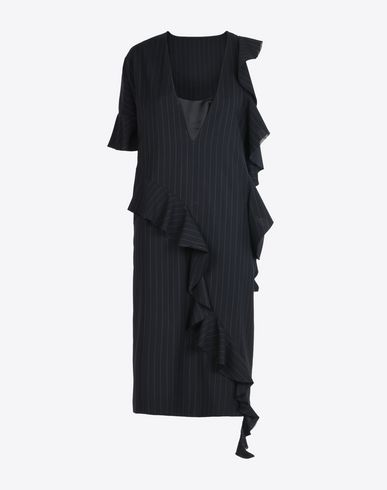 MAISON MARGIELA 1 3/4 length dress D Asymmetric poplin dress with ruffles f