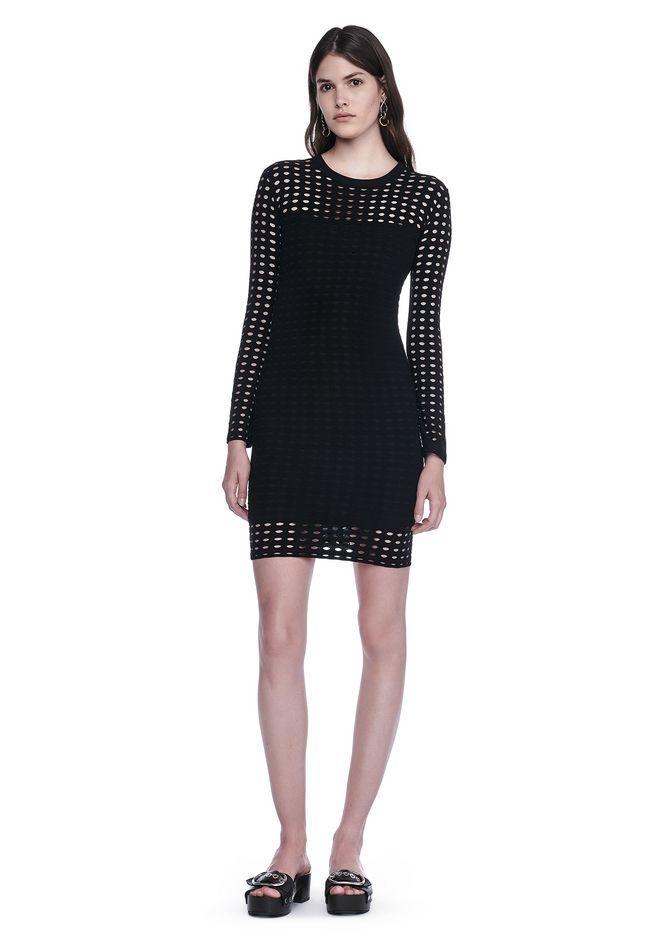 T by ALEXANDER WANG Short Dresses Women CIRCULAR HOLE LONG SLEEVE DRESS