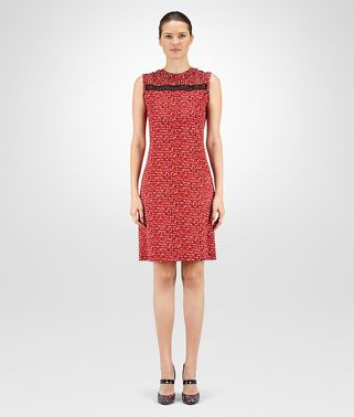 DRESS IN MULTICOLOR PRINTED COTTON JERSEY, LACE DETAIL