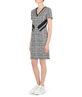 KARL LAGERFELD BOUCLÉ DRESS W/ STRIPE