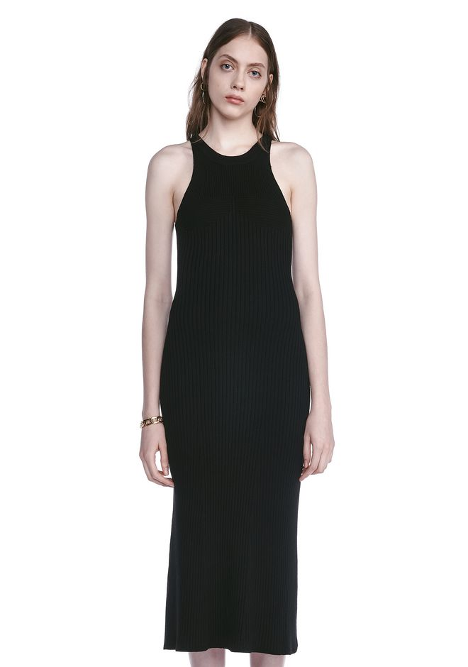 T by ALEXANDER WANG 3/4 Length dresses SLEEVELESS KNIT RIBBED DRESS