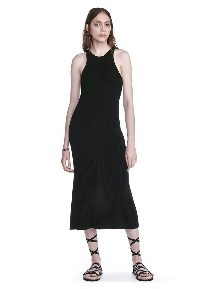 T by ALEXANDER WANG 3/4 Length dresses Women SLEEVELESS KNIT RIBBED DRESS