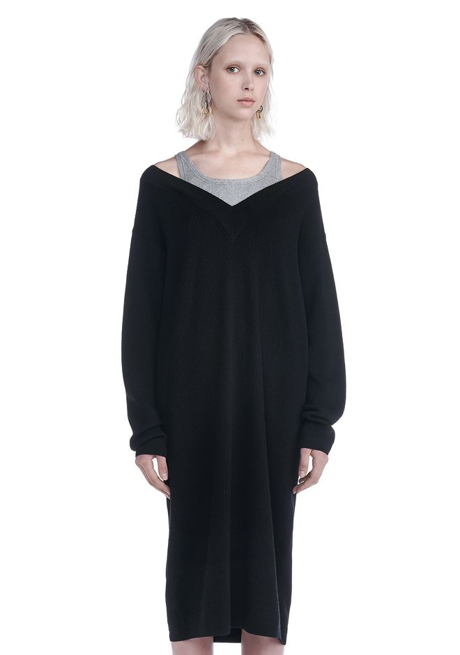 T by ALEXANDER WANG KNIT DRESSES KNIT PULLOVER DRESS WITH INNER COTTON TANK
