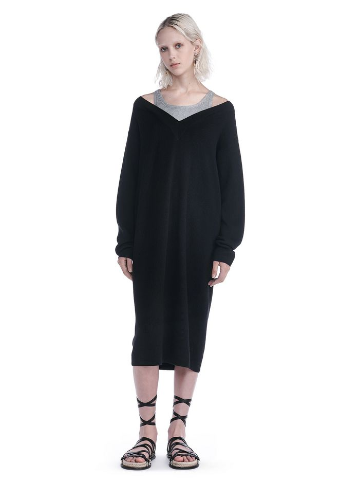 T by ALEXANDER WANG new-arrivals-t-by-alexander-wang-woman KNIT PULLOVER DRESS WITH INNER COTTON TANK