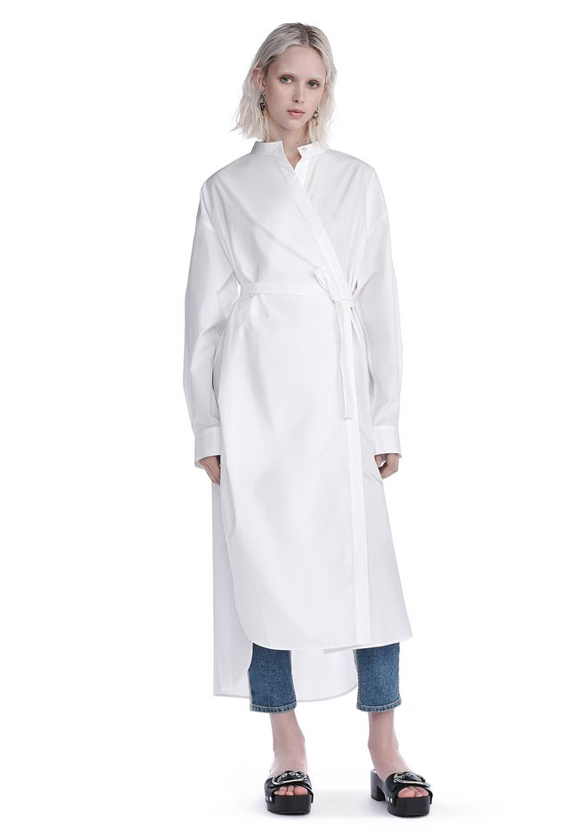 T by ALEXANDER WANG new-arrivals-t-by-alexander-wang-woman COTTON POPLIN LONG SLEEVE SHIRT DRESS