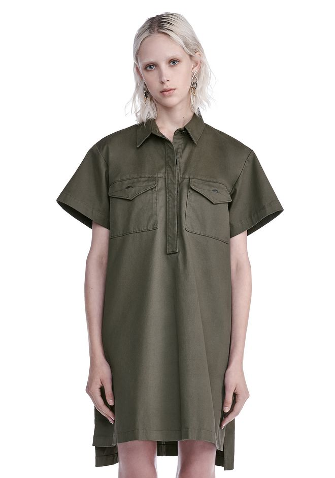 T by ALEXANDER WANG Short Dresses STRETCH COTTON SHORT SLEEVE COLLARED DRESS