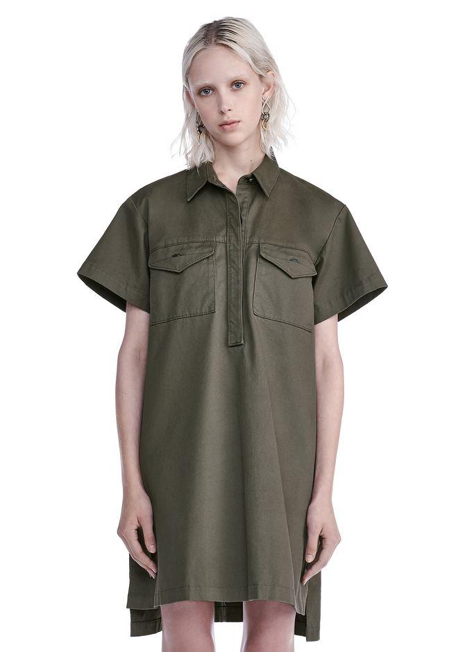 T by ALEXANDER WANG Short Dresses STRETCH COTTON SHORT SLEEVE COLLARED DRESS