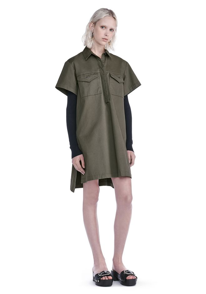 T by ALEXANDER WANG new-arrivals-t-by-alexander-wang-woman STRETCH COTTON SHORT SLEEVE COLLARED DRESS