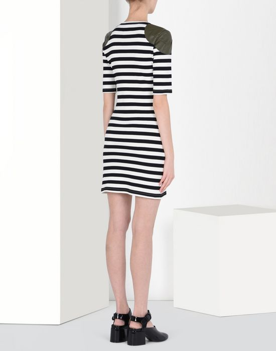 MM6 MAISON MARGIELA Striped rib jersey dress with shoulder detail Short dress D d