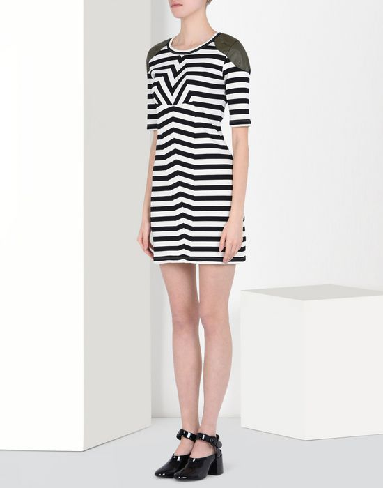 MM6 MAISON MARGIELA Striped rib jersey dress with shoulder detail Short dress D f