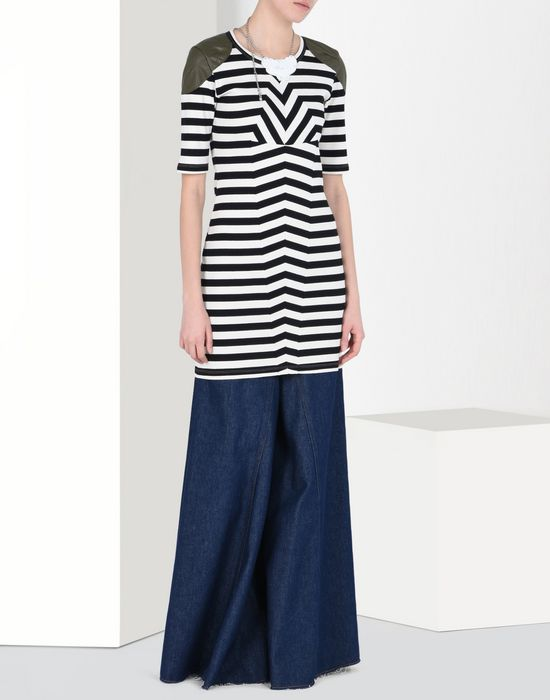 MM6 MAISON MARGIELA Striped rib jersey dress with shoulder detail Short dress D r