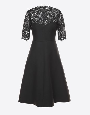 VALENTINO Crepe Couture and Heavy Lace Dress 34696065DG