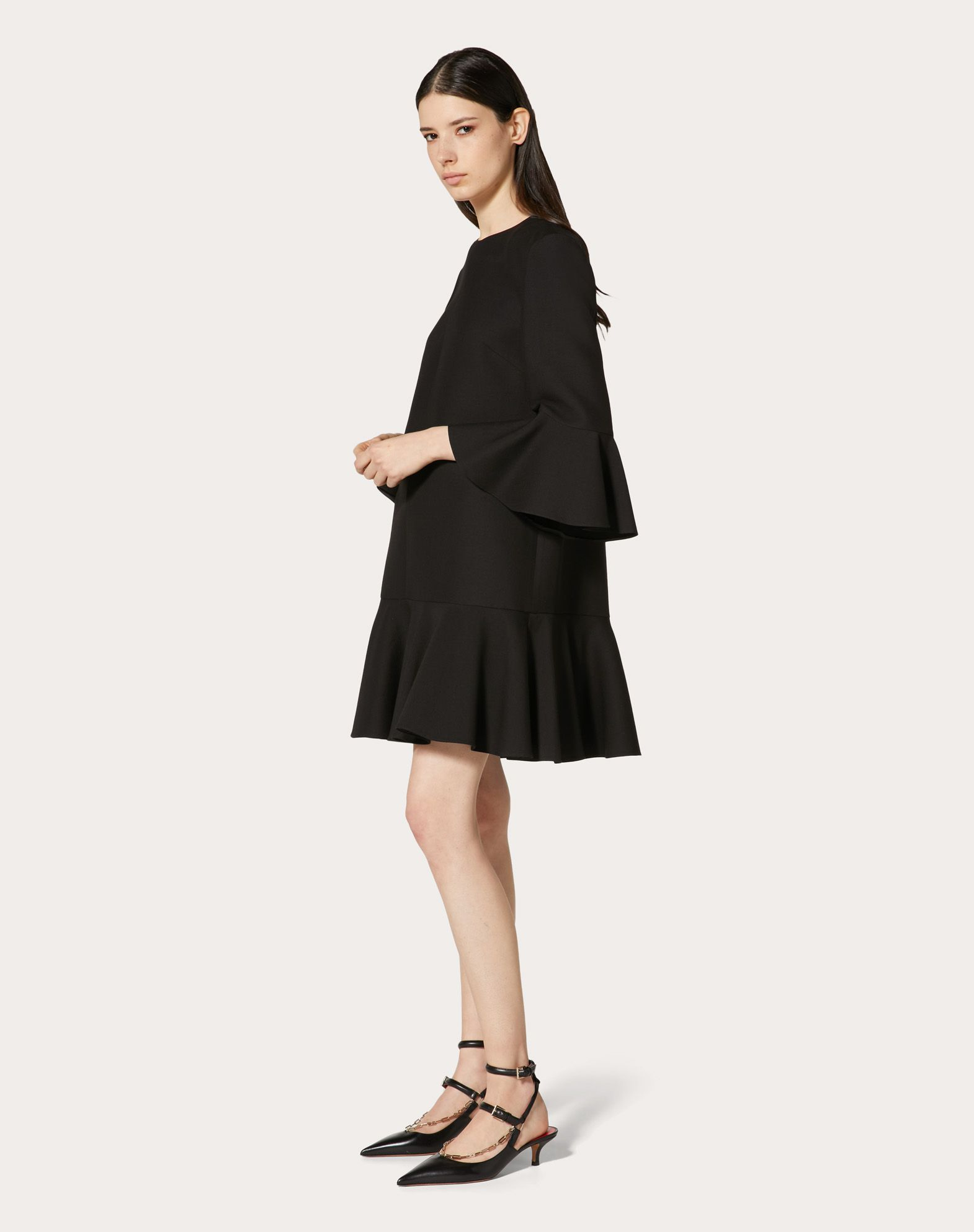 VALENTINO Solid colour Round collar Rear zip closure Lined interior 3/4 length sleeves Plain weave  34696077an