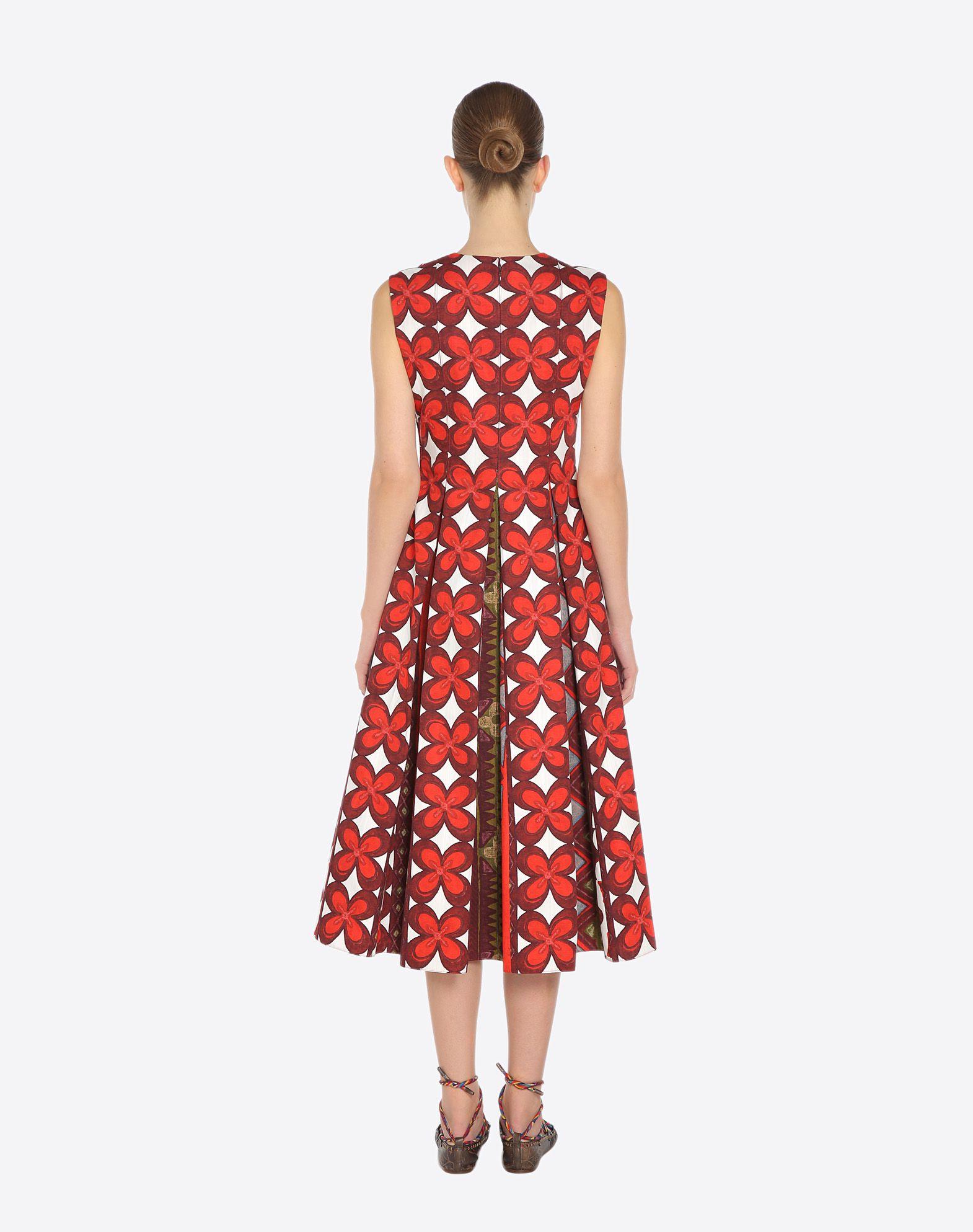 VALENTINO Pleated detailing Ethnic design Round collar Rear zip closure Semi-lined Sleeveless Plain weave  34696079qg