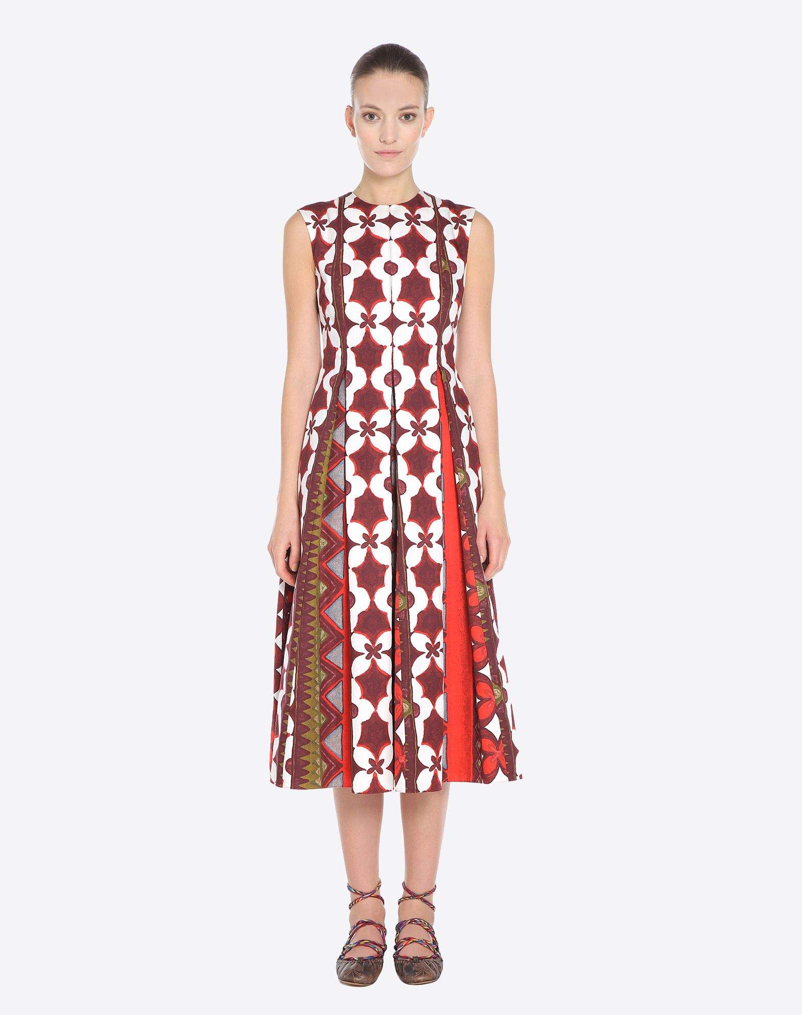 VALENTINO Pleated detailing Ethnic design Round collar Rear zip closure Semi-lined Sleeveless Plain weave  34696079qg