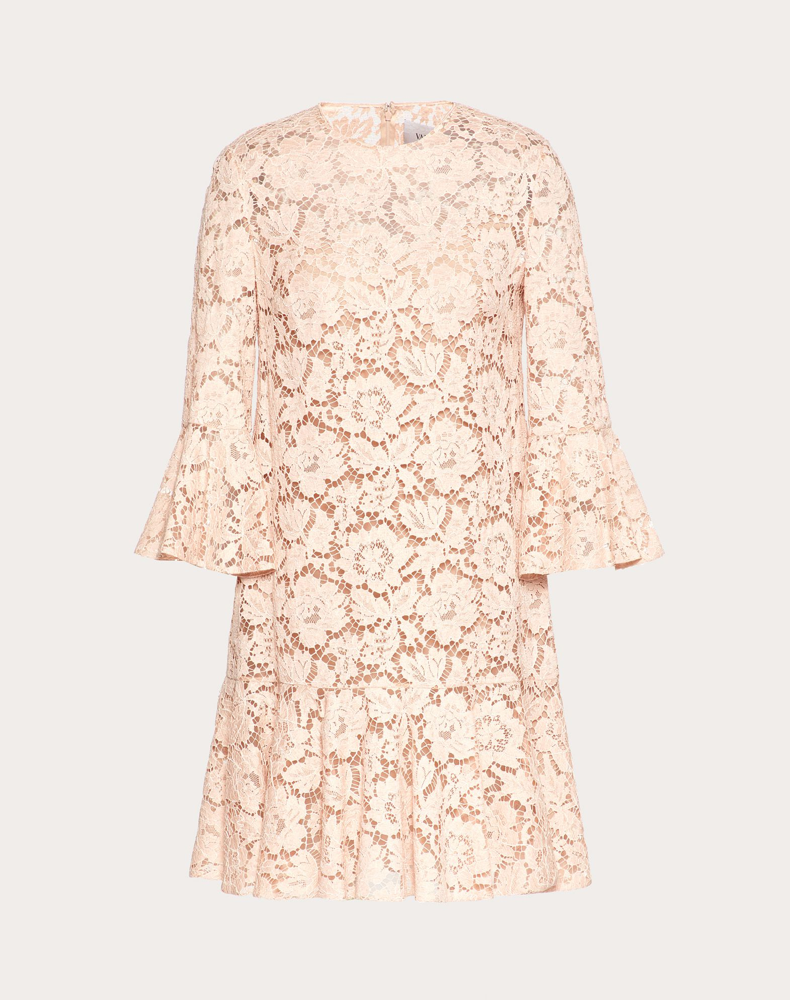 VALENTINO Lace Solid colour Round collar Rear zip closure Internal slip dress 3/4 length sleeves  34696092rj