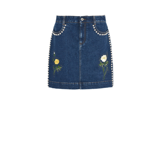 Nashville embroidered denim skirt