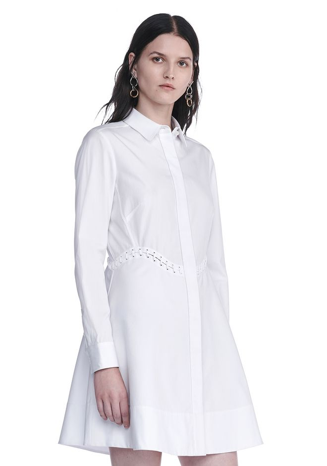 ALEXANDER WANG PEPLUM SHIRT DRESS  3/4 length dress Adult 12_n_a