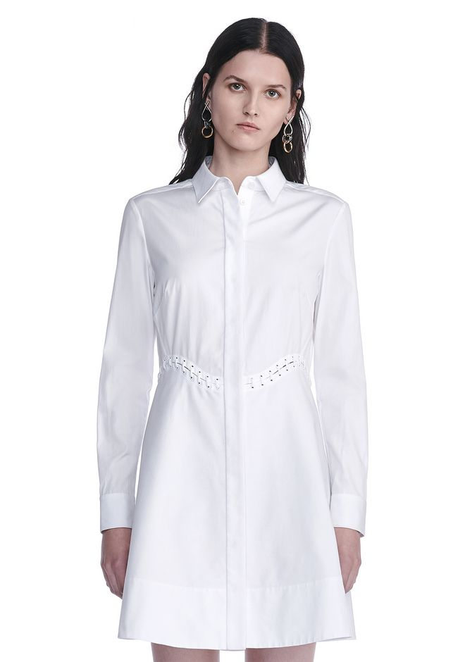 ALEXANDER WANG PEPLUM SHIRT DRESS  3/4 length dress Adult 12_n_e