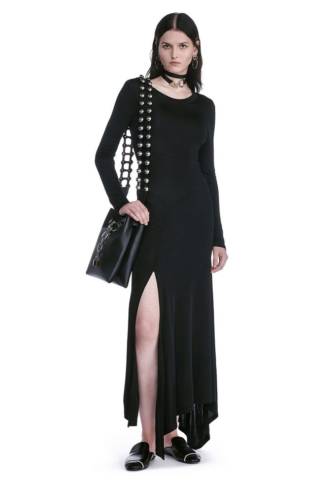 ALEXANDER WANG new-arrivals-ready-to-wear-woman DECONSTRUCTED LONG SLEEVE T-SHIRT DRESS
