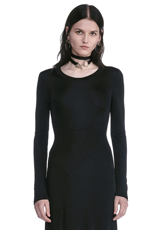 ALEXANDER WANG DECONSTRUCTED LONG SLEEVE T-SHIRT DRESS 3/4 length dress Adult 12_n_a