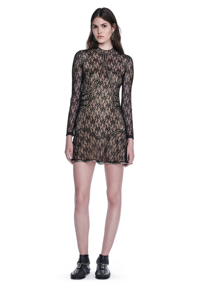 ALEXANDER WANG Short Dresses Women FLORAL LACE LONG SLEEVE MINI DRESS