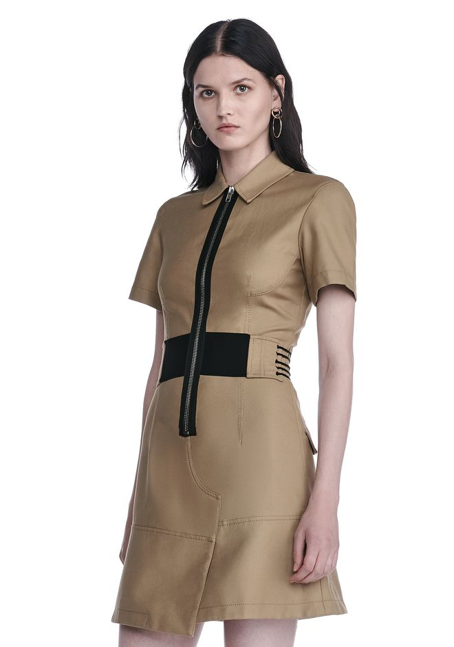 ALEXANDER WANG SHORT SLEEVE SAFARI DRESS Short Dress Adult 12_n_a