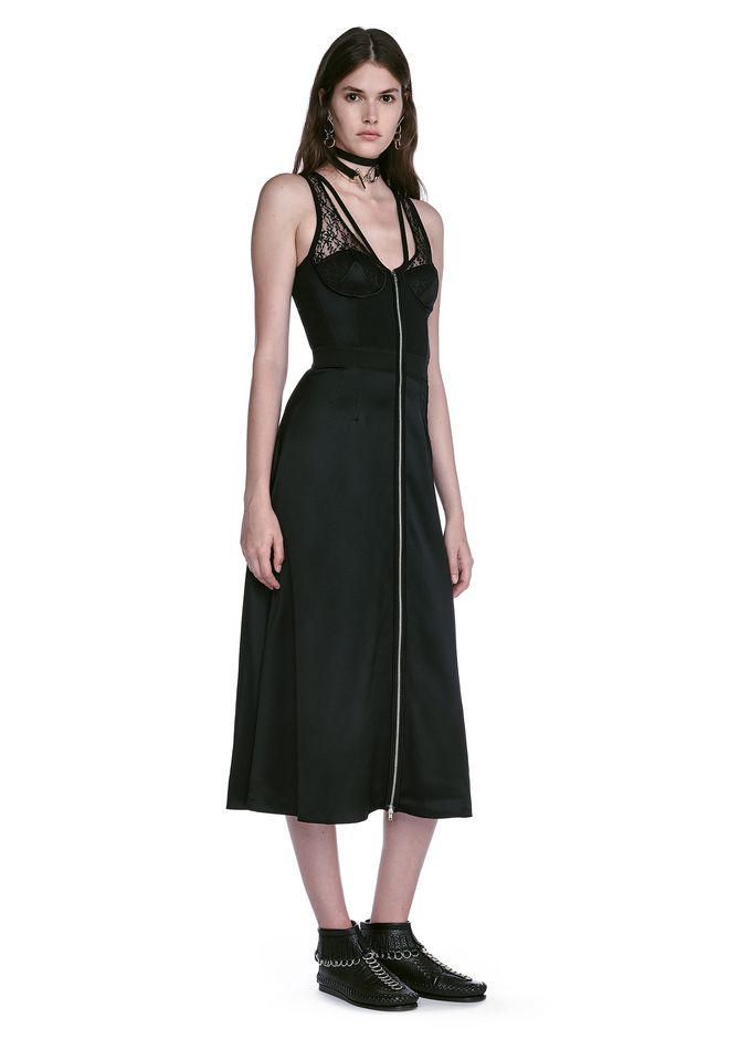 ALEXANDER WANG 3/4 Length dresses Women MIDI DRESS WITH FLUID SKIRT AND BUSTIER DETAIL