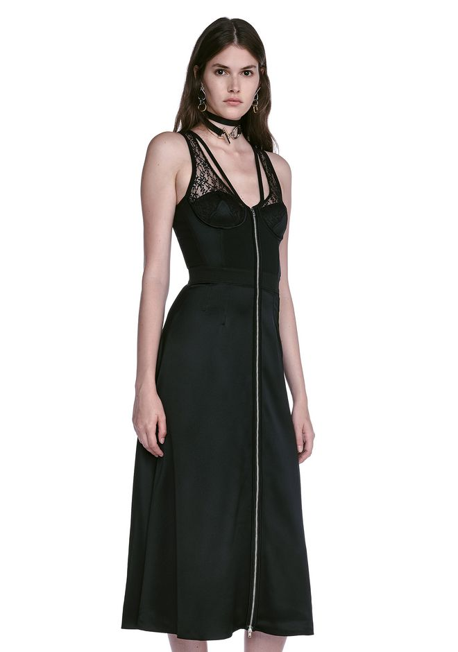 ALEXANDER WANG MIDI DRESS WITH FLUID SKIRT AND BUSTIER DETAIL 3/4 length dress Adult 12_n_a