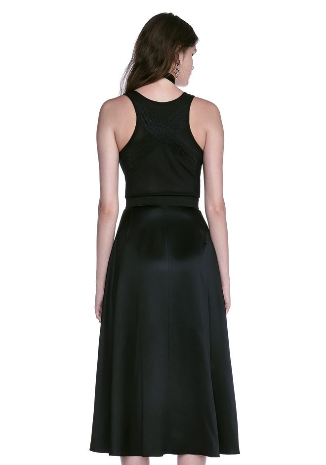 ALEXANDER WANG MIDI DRESS WITH FLUID SKIRT AND BUSTIER DETAIL 3/4 length dress Adult 12_n_d