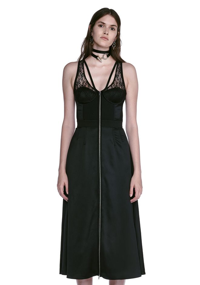 ALEXANDER WANG MIDI DRESS WITH FLUID SKIRT AND BUSTIER DETAIL 3/4 length dress Adult 12_n_e