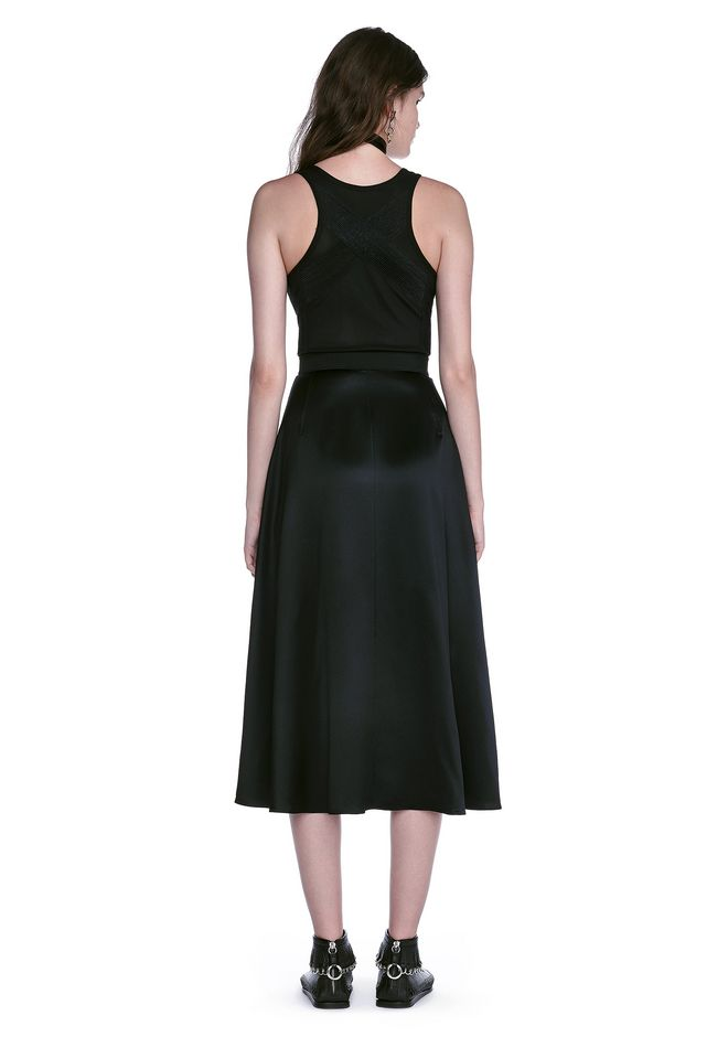 ALEXANDER WANG MIDI DRESS WITH FLUID SKIRT AND BUSTIER DETAIL 3/4 length dress Adult 12_n_r