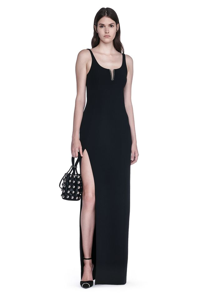 ALEXANDER WANG Long dresses Women EXCLUSIVE COLUMN GOWN WITH HIGH SLIT AND PIERCING INSERT
