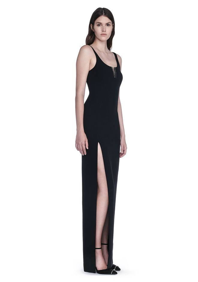 ALEXANDER WANG EXCLUSIVE COLUMN GOWN WITH HIGH SLIT AND PIERCING INSERT Long dress Adult 12_n_d