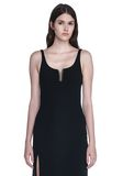 ALEXANDER WANG EXCLUSIVE COLUMN GOWN WITH HIGH SLIT AND PIERCING INSERT Long dress Adult 8_n_a