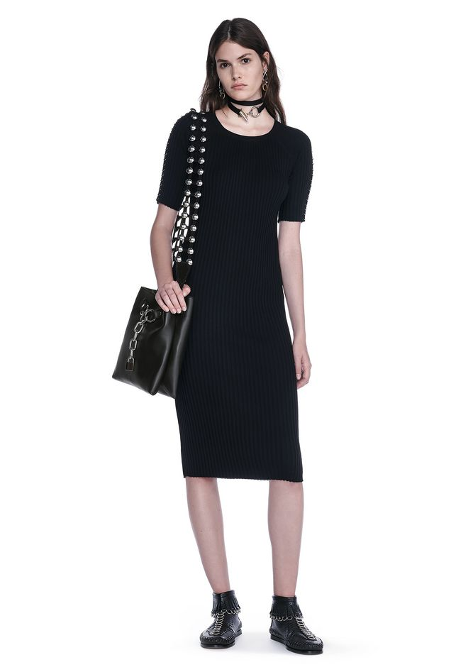 ALEXANDER WANG 3/4 Length dresses Women CREW NECK TEE DRESS WITH PIERCED SLEEVES