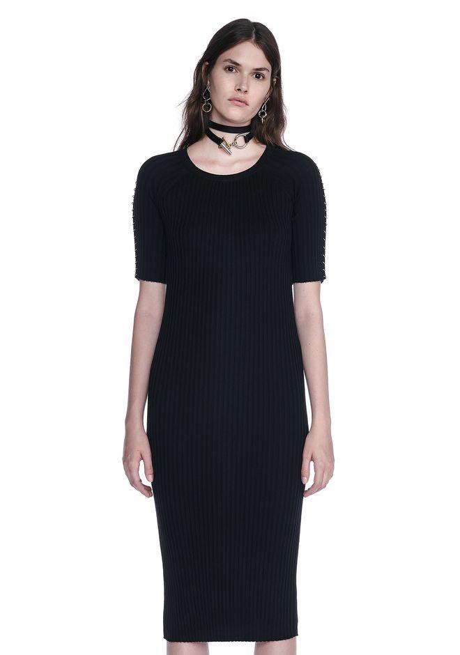 ALEXANDER WANG CREW NECK TEE DRESS WITH PIERCED SLEEVES 3/4 length dress Adult 12_n_e